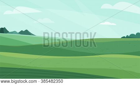 Landscape Vector Illustration. Green Meadow Field, Hill, Plants And Blue Sky With Clouds. Nature Spr