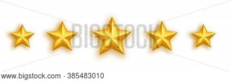 Golden Realistic Star Set On White Background. Five Glossy Stars Gold Stars Rating Icons. Luxury Hol