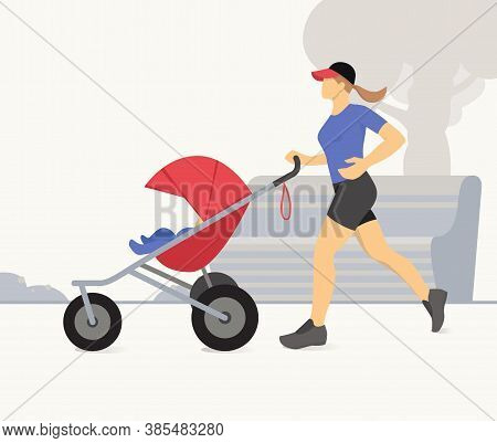 Woman Jogging With Stroller. Active Mother Jogging. Mother With Child In Stroller Running. Vector Il