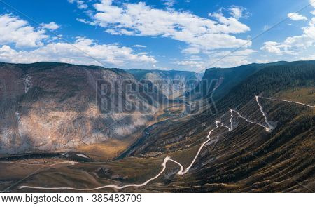 Panorama of the Katu Yaryk mountain pass and the valley of the river of Chulyshman. Altai Republic, Russia, beautiful summer day