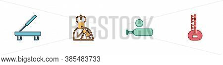 Set Scented Spa Stick, Indian Man Plays Flute, Wood Cricket Bat And Ball And Sitar Icon. Vector