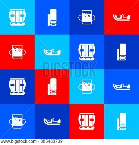 Set Instrument Tabla, Indian Textile Fabric, Cup Of Tea And Leaf And Shoes Icon. Vector
