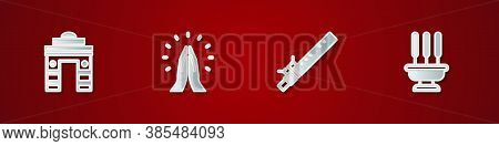 Set India Gate In Delhi, Hands Praying Position, Bamboo Flute Indian And Incense Sticks Icon. Vector