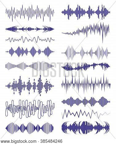 Big Collection With Music Waves Logo And Audio Symbols. Modern Sound Equalizer Elements Set. Vector