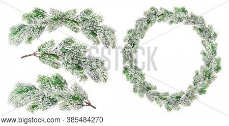 green Christmas wreath in snow isolated on white background