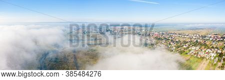 Aerial Drone View Of Scenic Countryside In Autumn Sunny And Misty Day. Birds Eye View Of Traditional