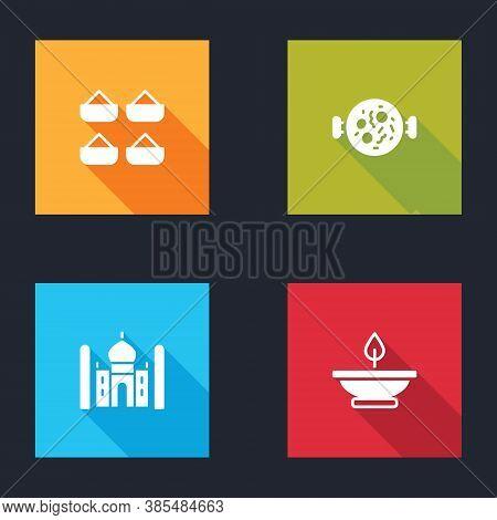 Set Indian , Chicken Tikka Masala, Taj Mahal And Aroma Lamp Icon. Vector