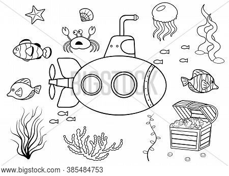 Funny Coloring Kids Underwater Set. Submarine Cartoon Black And White Vector Illustration Isolated O