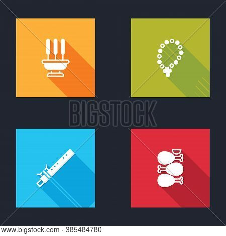 Set Incense Sticks, Rosary Beads Religion, Bamboo Flute Indian And Tandoori Chicken Icon. Vector