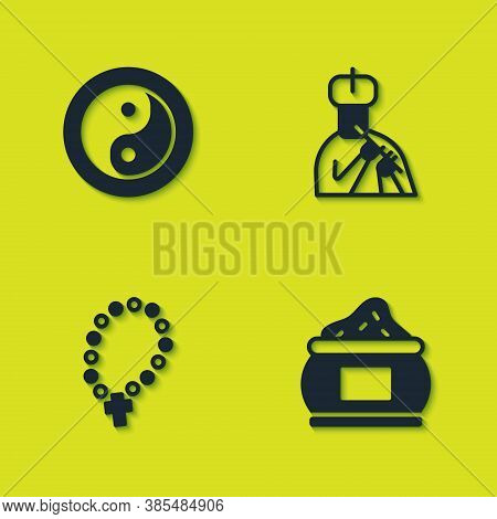 Set Yin Yang, Indian , Rosary Beads Religion And Man Plays Flute Icon. Vector