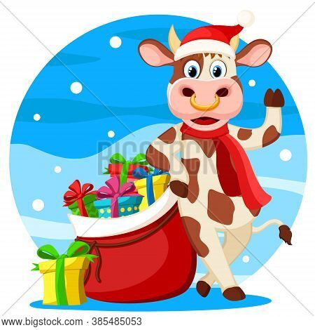 A Bull With A Bag Of Gifts Is In A New Years Hat. Year Of The Bull