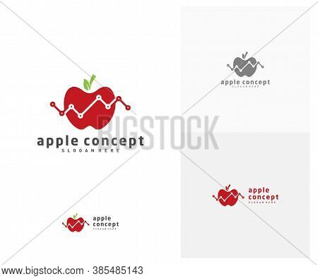 Stats Apple Logo Design Vector Template, Fruits Apple Icon Symbol