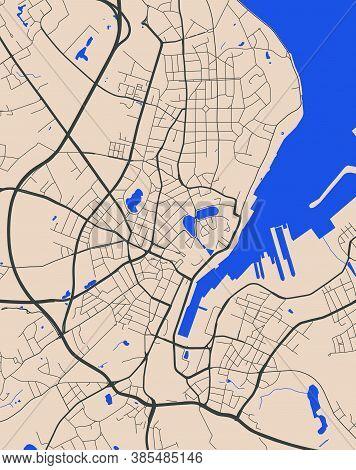 Detailed Map Of Kiel City Administrative Area. Royalty Free Vector Illustration. Cityscape Panorama.