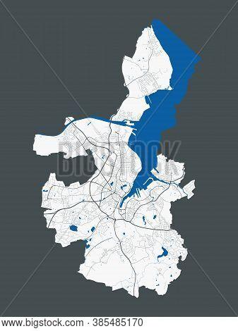 Kiel Map. Detailed Map Of Kiel City Administrative Area. Cityscape Panorama. Royalty Free Vector Ill