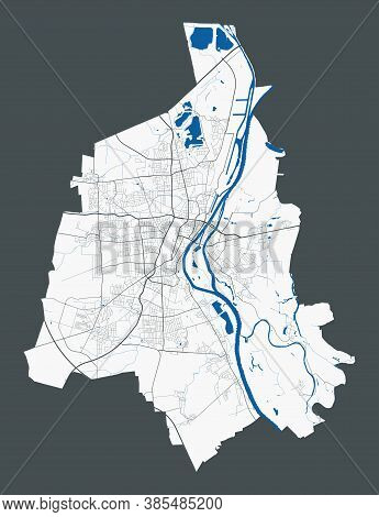 Magdeburg Map. Detailed Map Of Magdeburg City Administrative Area. Cityscape Panorama. Royalty Free