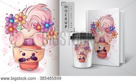 Cat Stuck In A Cup - Poster And Merchandising. Vector Eps 10