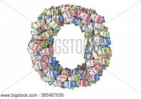 Letter O From Euro Packs. 3d Rendering Isolated On White Background