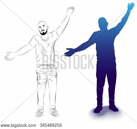 Vector Illustration Of A Silhouette And Outline Of A Man With Arms Wide Open. Isolated Image Of A Ma