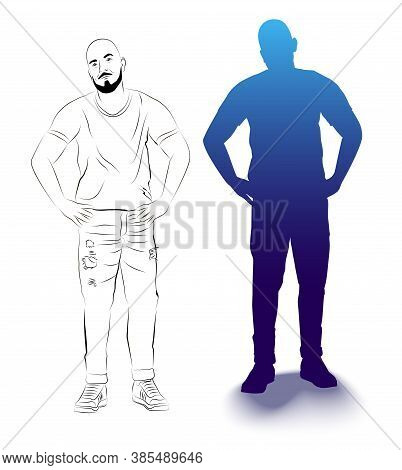 Silhouette And Sketch Of A Figure Of A Standing Man. Isolated Image Of A Man.man Holds Hands On A Be