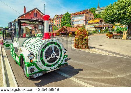 Chexbres, Switzerland - Aug 12, 2020: Lavaux Panoramic Express, Tourist Train To Vineyards Between L