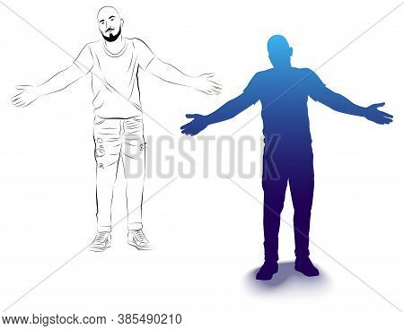 Vector Illustration Of A Sketch And Silhouette Of A Standing Man.  Drawing Of A Man With Open Arms.