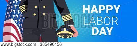 Pilot In Uniform Holding Usa Flag Happy Labor Day Celebration Concept Closeup Portrait Horizontal Ve