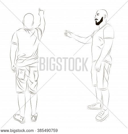 Vector Illustration Of A Man With A Raised Hand. Isolated Image Of A Man Looking From The Back And S