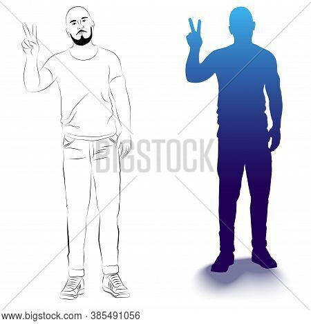 Vector Illustration Of A Standing Man With A Raised Hand. An Isolated Image Of People With Gestures.