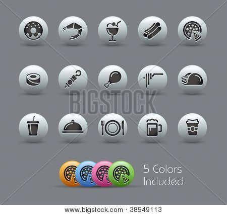 Food Icons - Set 2 of 2 // Pearly Series -------It includes 5 color versions for each icon in different layers ---------