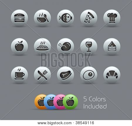 Food Icons - Set 1 of 2 // Pearly Series -------It includes 5 color versions for each icon in different layers ---------