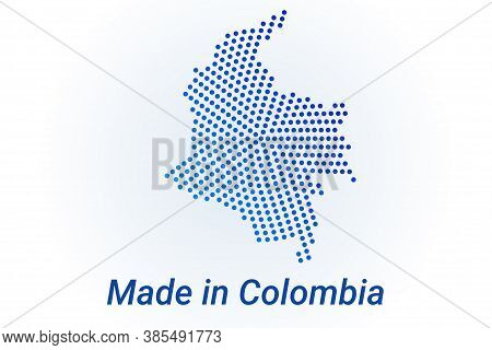 Map Icon Of Colombia. Vector Logo Illustration With Text Made In Colombia. Blue Halftone Dots Backgr