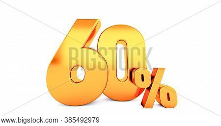3d Render Of Golden Sixty 60 Percent On White Background. Gold 60% Percent