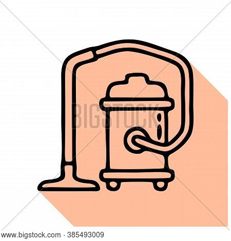 Industrial Vacuum Cleaner Flat Line Icon, Logo. Vector Illustration Of Household Appliance For House