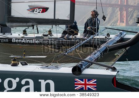 SAN FRANCISCO, CA - OCTOBER 4: Great Britain'??s J.P. Morgan Ben Ainslie Racing Team competes in the America'??s Cup World Series sailing races in San Francisco, CA on October 4, 2012