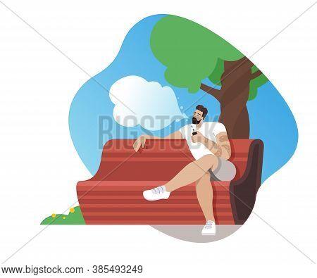 Caucasian Man Vaping In The Park. Man With Beard Vaping Outdoor. Vector Illustration On White Backgr