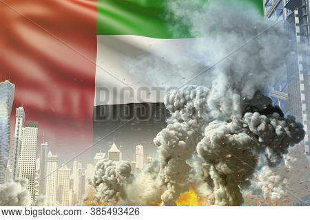 Big Smoke Pillar With Fire In Abstract City - Concept Of Industrial Catastrophe Or Terrorist Act On