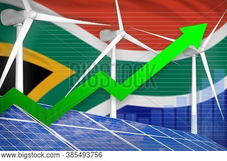 South Africa Solar And Wind Energy Rising Chart, Arrow Up  - Green Energy Industrial Illustration. 3