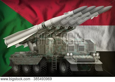 Tactical Short Range Ballistic Missile With Arctic Camouflage On The Sudan Flag Background. 3d Illus