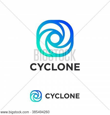 Cyclone Logo. Simple Icon With Blue Gradient. Dynamic Elements As Vortex. Logo Can Be Used For Produ