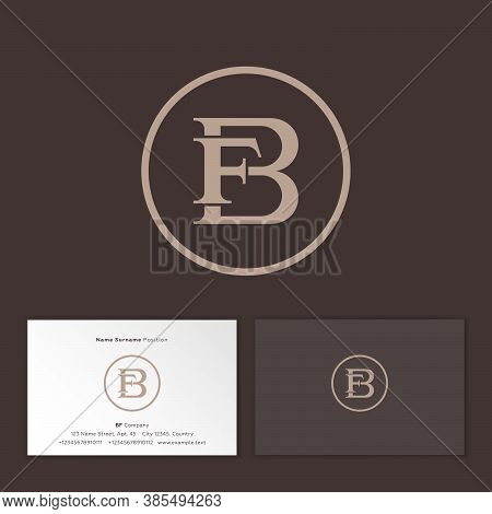 B And F Classic Monogram. Combined B And F Letters In Circle. Business Card.