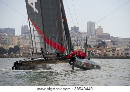 SAN FRANCISCO, CA - OCTOBER 4: Sweden'??s Artemis Racing White sailboat skippered by Terry Hutchinson competes in the America's Cup World Series sailing races in San Francisco, CA on October 4, 2012