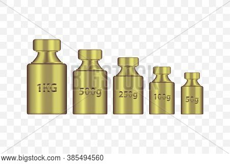 Kg Weight Mass Golden Metal Realistic Vector Set. Old Press Collection In Realistic Design. Golden C