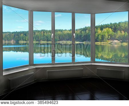 Room With Big Window In Room With Panoramic View To Forest Lake. Landscape With Lake In Forest. Pano