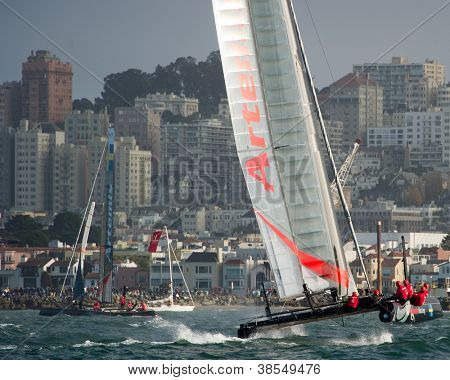 SAN FRANCISCO, CA - OCTOBER 4: Sweden'??s Artemis Racing Red sailboat skippered by Nathan Outteridge competes in the America'?s Cup World Series sailing races in San Francisco, CA on October 4, 2012