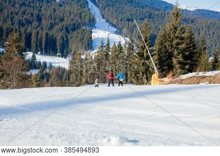 Ukraine, Kyiv- April 4, 2020: Skiing People And The Chair Lifts Of Ski Region In Ukraine