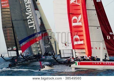 SAN FRANCISCO, CA - OCTOBER 4: Ben Ainslie Racing and Luna Rossa Piranha compete in the America'?s Cup World Series sailing races in San Francisco, CA on October 4, 2012