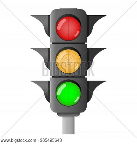 Traffic Lights. A Device That Changes Color To Red, Yellow And Green, To Regulate The Movement Of Ve