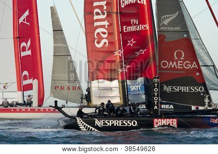 SAN FRANCISCO, CA - OCTOBER 4: Luna Rossa Swordfish and Emirates Team New Zealand compete in the America'??s Cup World Series sailing races in San Francisco, CA on October 4, 2012