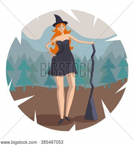 Red-haired Witch Stands With A Broom Against The Background Of The Forest And Mountains. She's Flyin