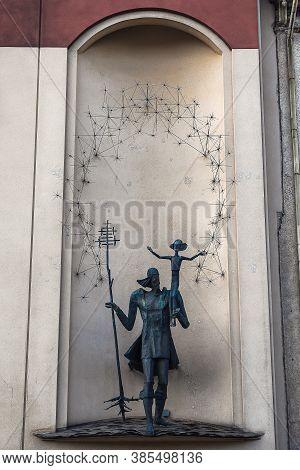 Vilnius, Lithuania - August 4, 2020: Statue Of Saint Christopher By Kazys Kisielis (1996) In Gedimin